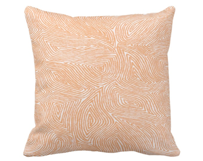 "OUTDOOR Sulcata Geo Throw Pillow or Cover, Terracotta & White 16, 18 or 20"" Sq Pillows/Covers, Abstract Geometric/Tribal/Lines/Wavy Pattern"