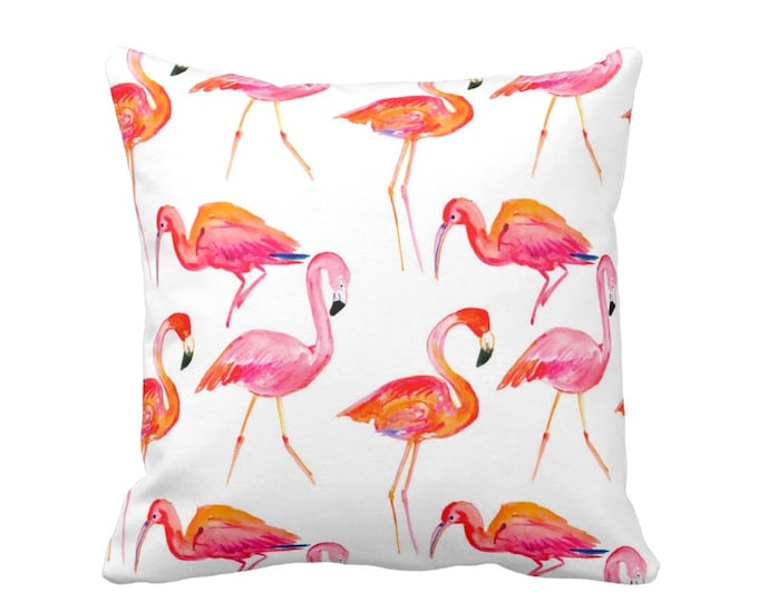 "SALE Flamingo Print Pillow or Cover, Bright Orange/Pink/White 16"" Sq Pillows or Covers, Coral/Tropical/Flamingos Print"