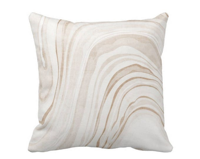 "Marble Print Throw Pillow or Cover, Sand/White 16, 18, 20 or 26"" Sq Pillows or Covers, Beige Modern/Abstract/Marbled/Swirl/Art"