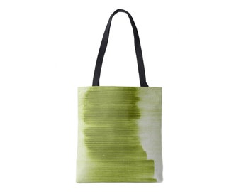 Ombre Stripe Market Tote, Peridot Striped Print Bag, Bright/Light Olive/Green/Lime/Kiwi Boho/Abstract/Modern Pattern/Design, Grape/Plum