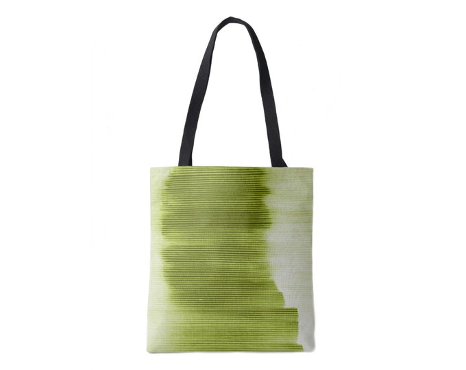 Ombre Stripe Market Tote, Peridot Striped Print Bag, Bright/Light Olive/Green/Lime/Kiwi Boho/Abstract/Modern Pattern/Design, Grape/Plum
