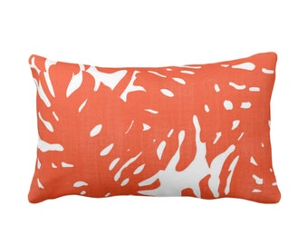 """Palm Silhouette Throw Pillow or Cover Flame/White Print 14 x 20"""" Lumbar Pillows or Covers, Bright Orange/Red Tropical/Modern/Leaves Pattern"""