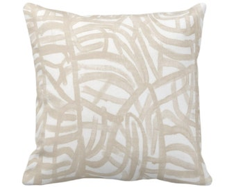 "OUTDOOR Avant Throw Pillow or Cover White & Muted Beige 14, 16, 18, 20, 26"" Sq Pillows/Covers Off-White Painted/Abstract/Modern/Art Print"