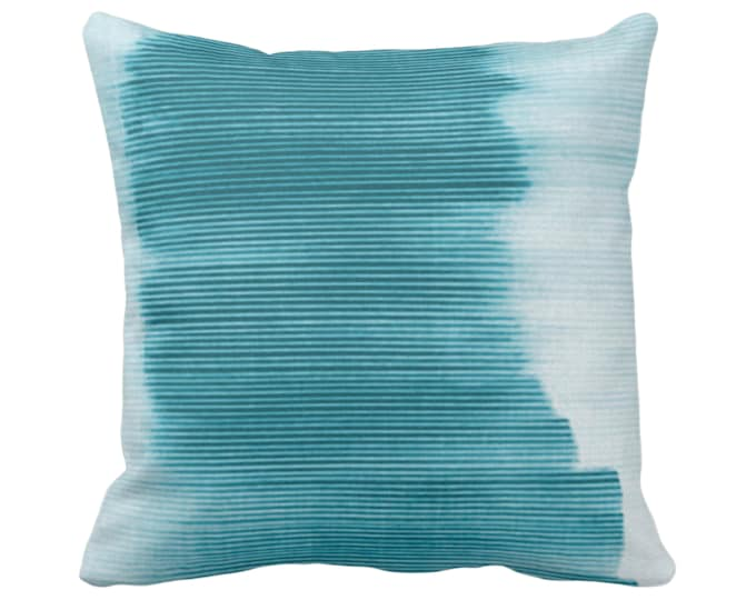 """OUTDOOR Teal Ombre Stripe Throw Pillow/Cover 16, 18, 20, 26"""" Sq Pillows/Covers Blue/Green Geometric/Print/Design/Striped/Stripes/Geo/Lines"""