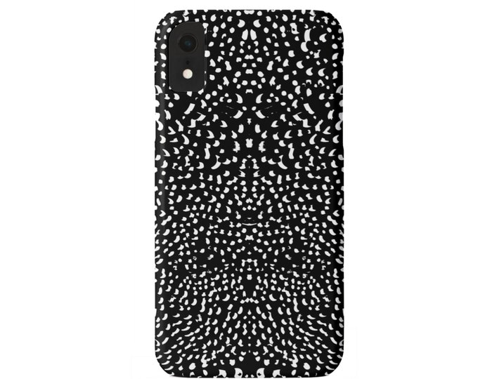 Mirrored Spots Print iPhone XS, XR, X, 7/8, 6/6S, 6 P/Plus/Max Snap Case or TOUGH Protective Cover, Black/White Animal/Spotted/Dots/Speckled