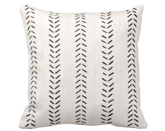 "OUTDOOR Mud Cloth Print Throw Pillow or Cover, Off-White/Black 16, 18 or 20"" Sq Pillows or Covers, Mudcloth/Boho/Arrows/Tribal/Design"