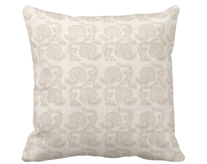 """OUTDOOR Block Print Floral Throw Pillow or Cover, Cream 16, 18 or 20"""" Sq Pillows, Covers, Off-White/Beige Batik/Boho/Blockprint Pattern"""