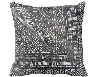 """OUTDOOR Batik Printed Throw Pillow or Cover, Gray 16, 18, 20, 26"""" Square Pillow/Covers, Printed Vintage Chinese Grey Textile"""