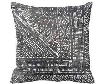 "OUTDOOR Batik Printed Throw Pillow/Cover, Gray 16, 18, 20, 26"" Square Pillow/Covers, Printed Vintage Chinese Grey Textile"