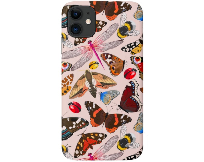 Insects iPhone 11, XS, XR, X, 7/8, 6/6S Pro/Max/P/Plus Snap Case or TOUGH Protective Cover, Bugs/Butterfly/Dragonfly/Bee/Ladybug Nude Pink