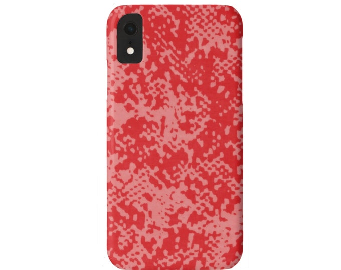 Abstract Animal Print iPhone 11, XS, XR, X, 7/8, 6/6S Pro/Max/Plus/P Snap Case or TOUGH Protective Cover Red/Living Coral Snake/Reptile