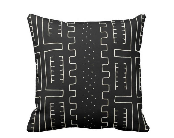 """OUTDOOR Mud Cloth Throw Pillow or Cover, Black/Off-White 16, 18 or 20"""" Sq Pillows or Covers, Mudcloth/Boho/Tribal/African Print/Pattern"""