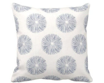 "OUTDOOR Sea Urchin Throw Pillow or Cover, Navy/Off-White 16, 18 or 20"" Sq Pillows or Covers, Dark Blue Modern/Starburst/Geometric/Geo Print"