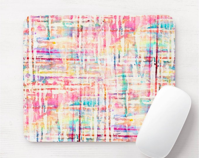 Watercolor Tweed Mouse Pad, Multicolored/Colorful Mousepad, Bright Hand Painted, Pink/Orange/Blue/Green/Yellow, Modern/Minimal Design