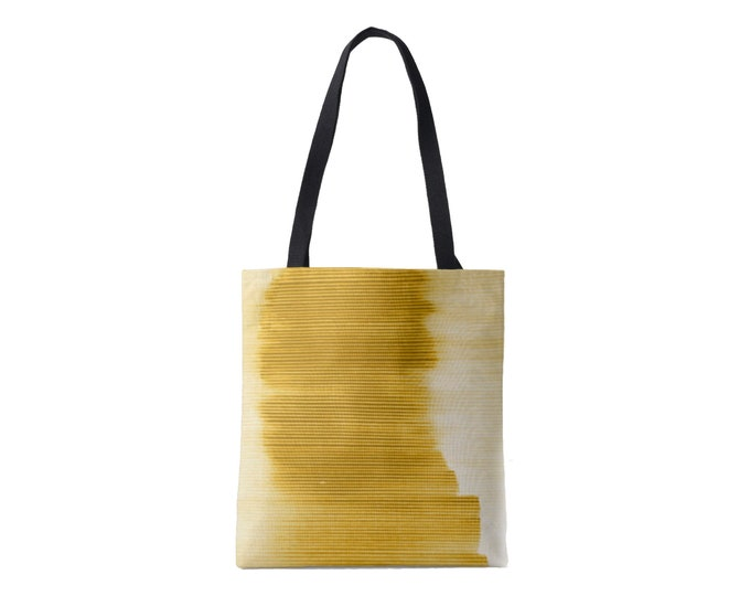 Ombre Stripe Market Tote, Horseradish Striped Print Bag, Dark Yellow/Goldenrod/Dijon/Citron Abstract/Modern Pattern/Design, Grape/Plum