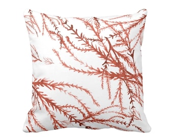 """Watercolor Branches Throw Pillow/Cover, Burnt Orange & White Print 16 or 20"""" Square Pillows or Covers, Coral Nature/Botanical Pattern"""