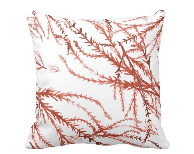 "Watercolor Branches Throw Pillow/Cover, Burnt Orange & White Print 16 or 20"" Square Pillows or Covers, Coral Nature/Botanical Pattern"