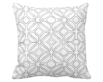"OUTDOOR Tribal Trellis Throw Pillow/Cover Charcoal/White 14, 16, 18, 20, 26"" Sq Pillows/Covers Gray Geometric/Diamond/Triangle Print/Pattern"