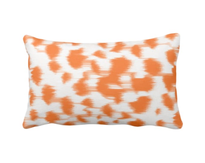 """Ikat Abstract Animal Print Throw Pillow/Cover 14 x 20"""" Lumbar Pillows/Covers, Bright Orange/White Spots/Spotted/Dots/Dot/Geo/Painted Pattern"""