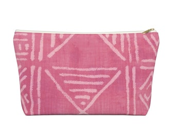 Mud Cloth Geo Print Zippered Pouch, Bright Pink Tribal Design, Cosmetics/Pencil/Make-Up Organizer/Bag Boho/African Geometric Pattern/Design