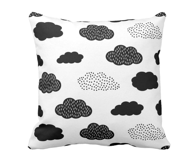 "Clouds Throw Pillow or Cover, Modern Nursery Black/White 16, 18, 20, 26"" Sq Pillows/Covers, Gender Neutral/Fun/Cloud/Sky Print/Pattern"