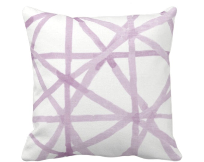 """Painted Lines Throw Pillow or Cover, White/Amethyst 16, 18, 20, 26"""" Sq Pillows Covers, Purple Modern/Starburst/Geometric/Geo/Abstract Print"""