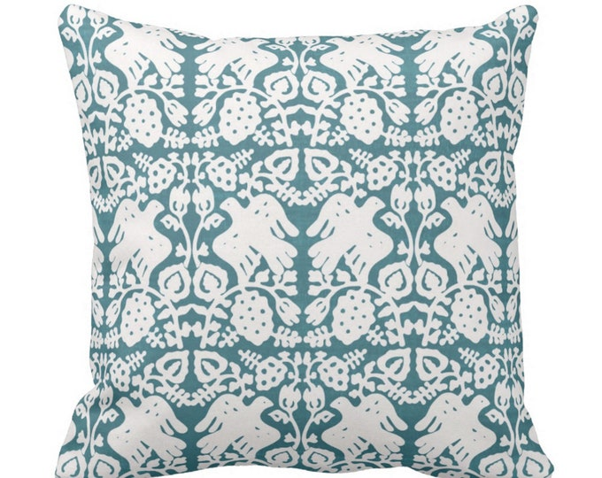 "OUTDOOR Block Print Bird Floral Throw Pillow or Cover, Teal 16, 18 or 20"" Sq Pillows or Covers, Jewel Blue/Green Blockprint/Boho Print"