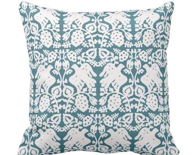 "Block Print Bird Floral Throw Pillow or Cover, Teal 16, 18, 20, 26"" Sq Pillows or Covers, Jewel Blue/Green Blockprint/Boho Print"