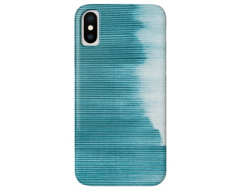Ombre Stripe Teal iPhone XS, XR, X, 7/8, 7P, 8P or 6/6S, 6P Plus/Max Snap Case or TOUGH Protective Cover, Bright Blue/Green Striped/Stripes