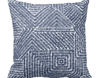 "Tribal Geo Throw Pillow or Cover, Navy 16, 18, 20 or 26"" Sq Pillows or Covers, Dark Blue & White Scratch Geometric/Tribal/Batik/Geo/Boho"