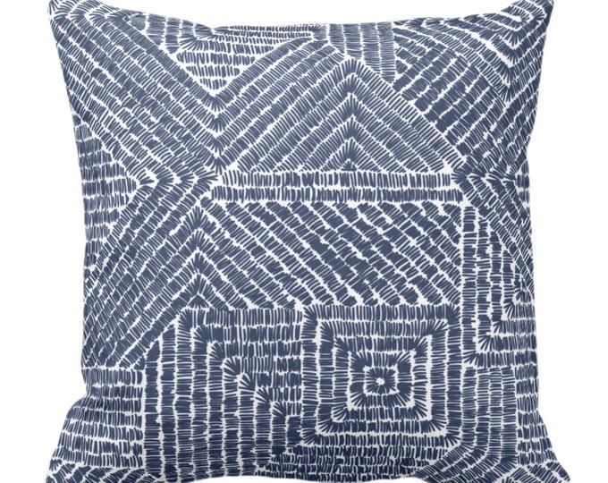 "Tribal Geo Throw Pillow or Cover, Navy 16, 18, 20 or 26"" Sq Pillows or Covers, Dark Blue & White Scratch Geometric/Tribal/Batik/Geo/Boho"
