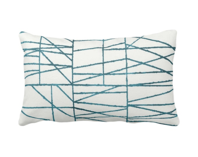 """OUTDOOR Teal Geo Print Throw Pillow or Cover 14 x 20"""" Lumbar/Oblong Pillows/Covers, Dark Blue/Green Painted Geometric/Abstract/Lines/Lined"""
