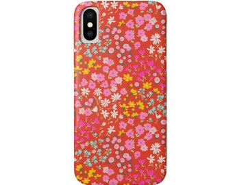 Red Floral iPhone XS, XR, X, 7/8, 6/6S, 6 P/Plus/Max Snap Case or Tough Protective Cover, Vintage/Retro/Wallpaper Daisy, Bright/Colorful