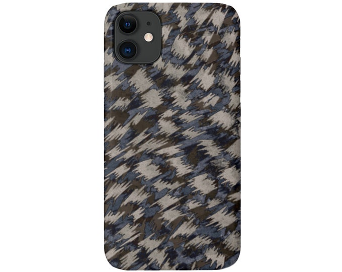 Abstract Pattern iPhone 11, XS, XR, X, 7/8, 6/6S Pro/Max/Plus/P Snap Case or TOUGH Protective Cover, Gray/Taupe/Blue Animal/Geo Print/Design