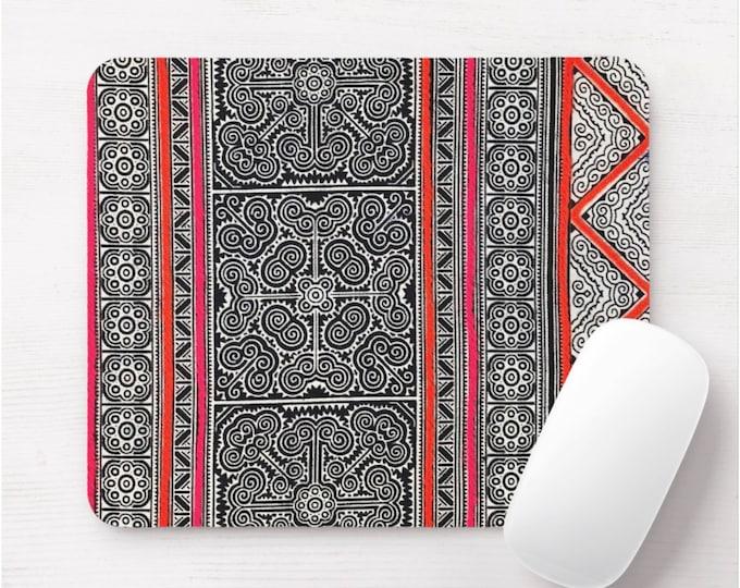 Dark Indigo Batik Print Mouse Pad/Mousepad, Pink & Red Thai Chinese Minority Hill Tribe