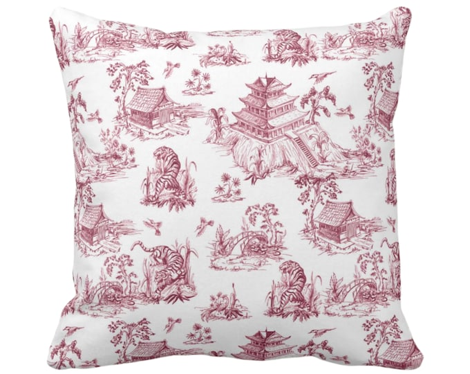 """OUTDOOR Tiger Toile Throw Pillow or Cover, 16, 18, 20, 26"""" Sq Pillows/Covers Black Cherry Red Print/Pattern Chinoiserie/Willow/Pagoda/Palms"""