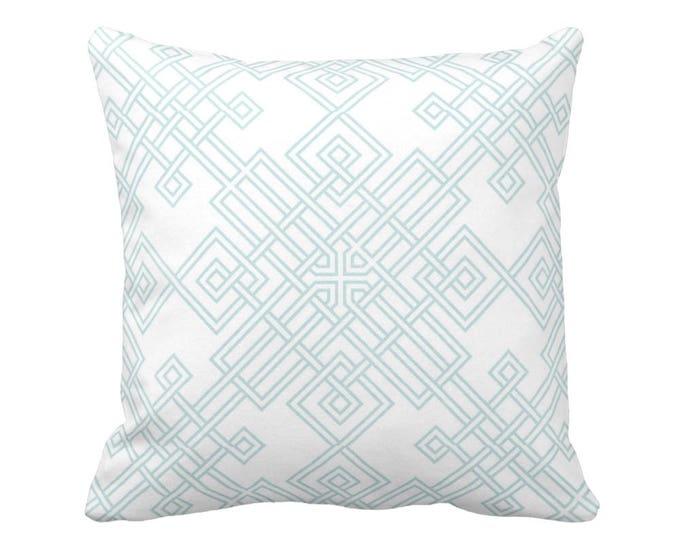 "Interlocking Geo Throw Pillow or Cover, Teal/White 16, 18, 20 or 26"" Sq Pillows or Covers, Aqua Geometric/Trellis/Lattice Print"
