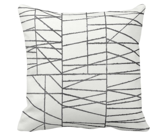 "OUTDOOR Charcoal Geo Print Throw Pillow or Cover 14, 16, 18, 20 or 26"" Sq Pillows/Covers, Dark Gray/Grey Painted Geometric/Abstract/Lines"