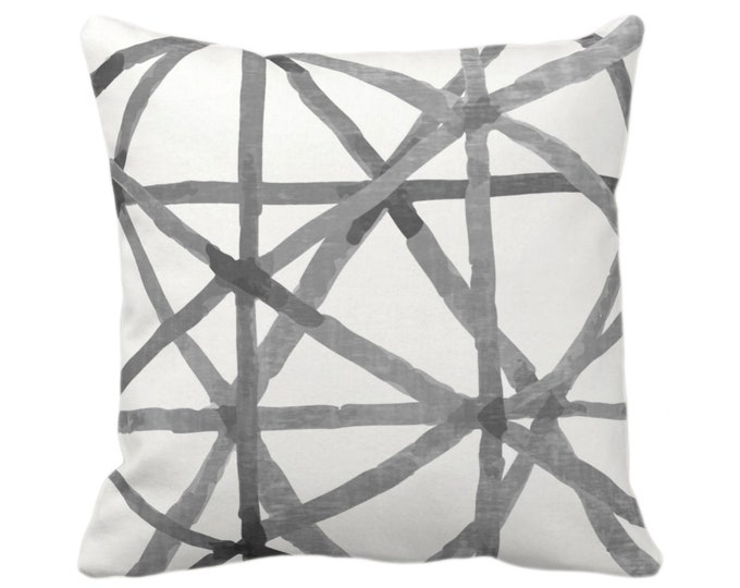 """OUTDOOR Painted Lines Throw Pillow or Cover, White/Charcoal 16, 18, 20"""" Sq Pillows Covers, Black/Gray Modern/Lines/Star/Geometric/Geo Print"""