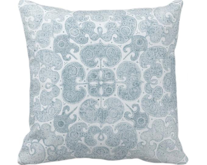 "OUTDOOR Batik Print Throw Pillow/Cover, Dusty Sea 14, 16, 18, 20, 26"" Sq Covers, Light Blue/Green Floral/Geometric/Boho/Tribal/Hmong/Design"