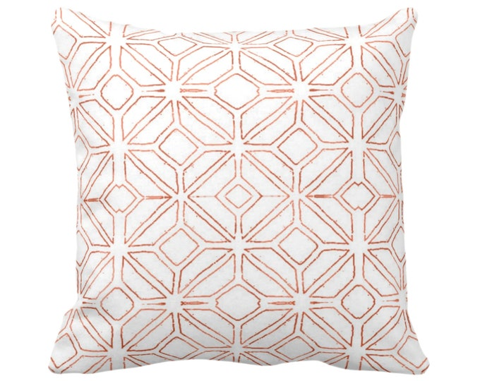 "OUTDOOR Tribal Trellis Throw Pillow/Cover Burnt Orange/White 14, 16, 18, 20, 26"" Sq Pillows/Covers, Geometric/Diamond/Triangle Print/Pattern"
