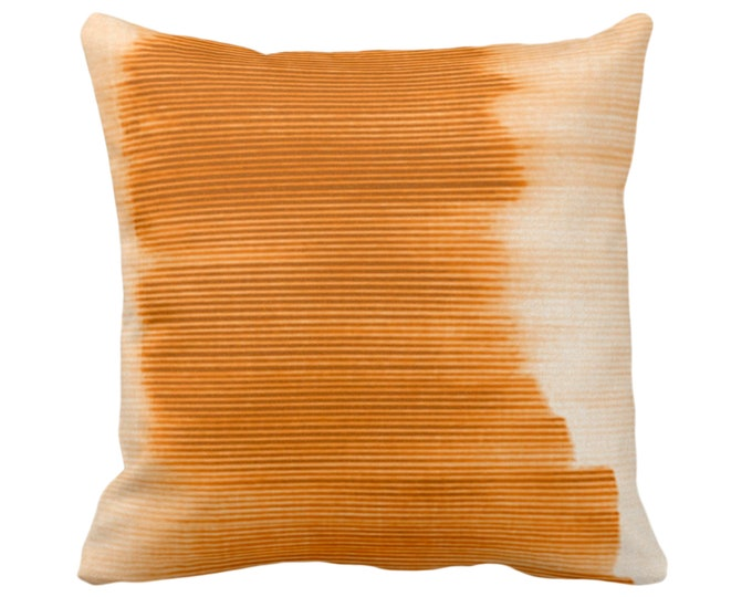 """OUTDOOR Golden Orange Ombre Stripe Throw Pillow/Cover 16, 18, 20, 26"""" Sq Pillows/Covers Oak/Sunset Geometric/Print/Striped/Stripes/Geo/Lines"""