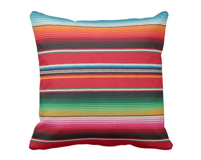 "READY TO SHIP 16"" Serape Stripe Throw Pillow Cover, Printed Mexican Blanket/Rug Square Pillow Covers"