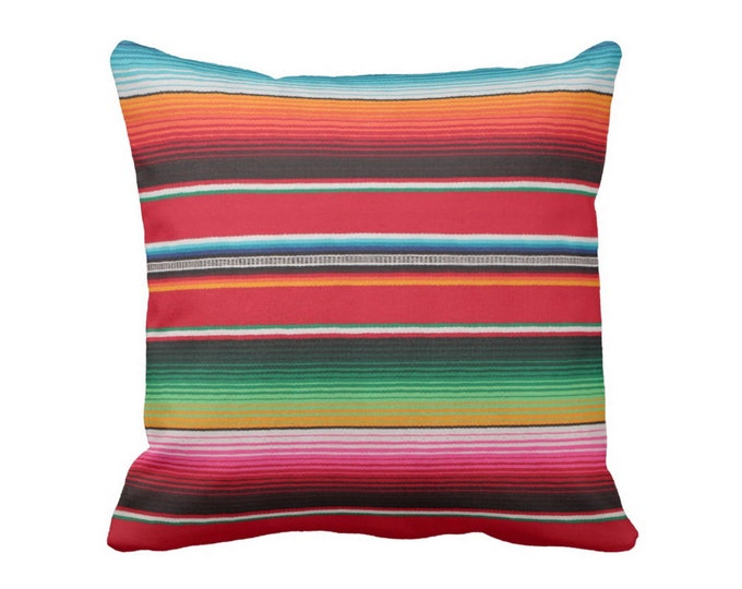 "OUTDOOR - SALE Serape Stripe Throw Pillow Cover, Printed Mexican Blanket/Rug 14"" Sq Covers, Boho Rainbow/Colorful/Stripes/Striped"