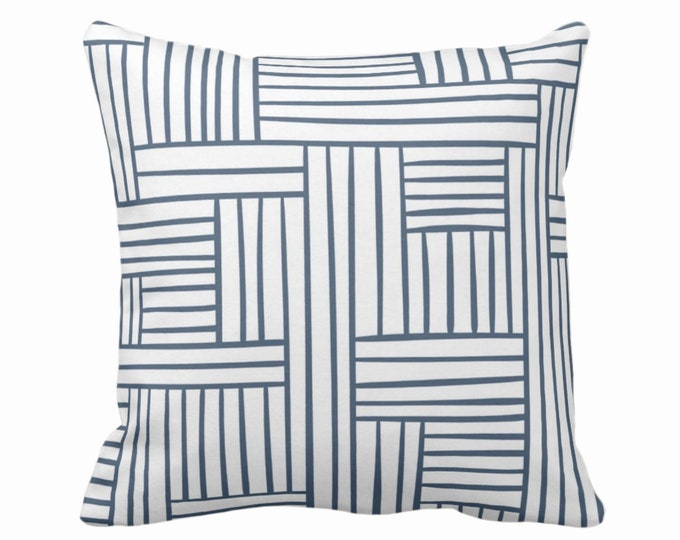 "OUTDOOR Woven Lines Throw Pillow/Cover, White/Navy 16, 18, 20, 26"" Sq Pillows/Covers, Dark Blue Modern/Striped/Geometric/Geo/Abstract Print"