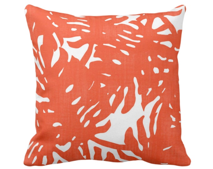 "OUTDOOR Palm Silhouette Throw Pillow or Cover Flame/White 16, 18 or 20"" Sq Pillows or Covers Orange Tropical/Leaf/Leaves/Palms Print/Pattern"