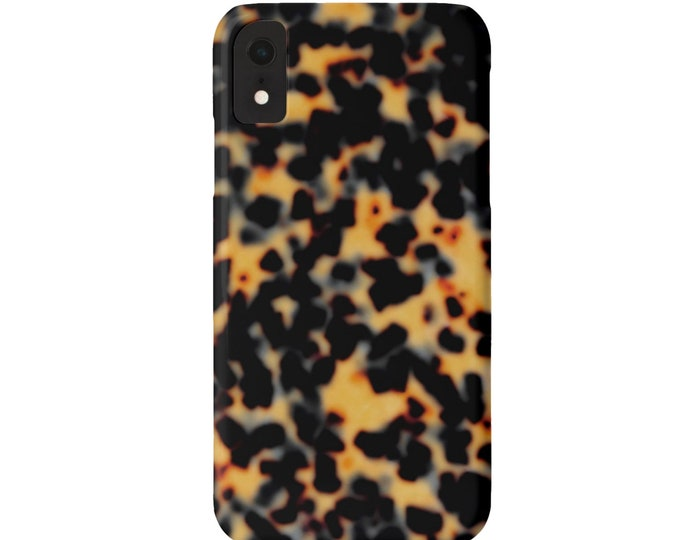 Tortoise Shell iPhone 11, XS, XR, X, 7/8 or 6/6S P/Plus/Max Snap Case or TOUGH Protective Cover Havana Faux Tortoiseshell Print/Design Retro