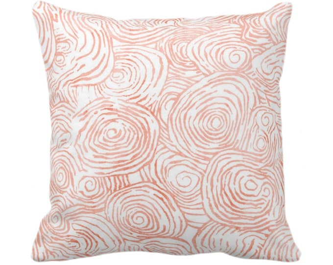 "OUTDOOR Watercolor Faux Bois Throw Pillow/Cover Terracotta 14, 16, 18, 20, 26"" Sq Pillows/Covers Orange/Pink Modern/Swirl Hand-Painted Print"