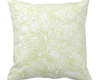 "OUTDOOR Watercolor Faux Bois Throw Pillow/Cover, Wasabi 14, 16, 18, 20, 26"" Sq Pillows/Covers Green Hand Painted Modern/Abstract/Swirl Print"