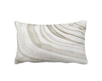 "OUTDOOR Taupe Marble Print Throw Pillow or Cover, 14 x 20"" Lumbar Pillows/Covers, Beige/Gray Marbled/Abstract/Modern/Swirl Pattern"